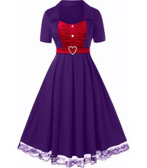 plus size velvet lace hem a line retro dress