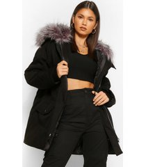 oversized keperstof parka jas met rits en capuchon, black