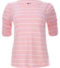 camiseta a rayas con recogido color rosado, talla 6