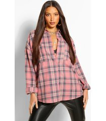 tall oversized geruite blouse, rose
