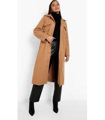 nepwollen long line jas met zak detail, camel