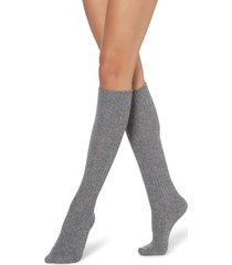 calzedonia long ribbed socks with wool and cashmere woman grey size tu