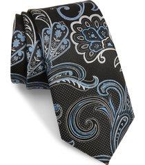 men's nordstrom terry paisley silk tie, size regular - blue