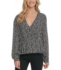 dkny jeans printed faux-wrap top