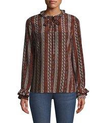 ruffle-trim silk blouse