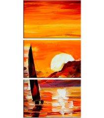conjunto de telas decorativa barco a vela grande love decor - multicolorido - dafiti