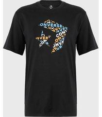 polera converse star chevron wordmark cotton jersey graphic t-shirt negro - calce regular