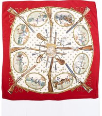 hermes la chasse a tir red multicolor silk scarf red/multicolor sz: