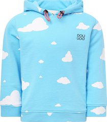douuod light blue sweatshirt with white clouds