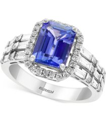 effy tanzanite (2-1/10 ct. t.w.) & diamond (5/8 ct. t.w.) statement ring in 14k white gold