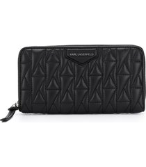 karl lagerfeld logo quilted continental wallet - black