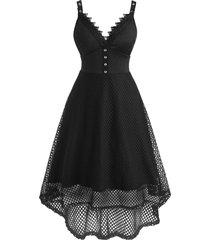 fishnet lace insert empire waist high low grommet dress