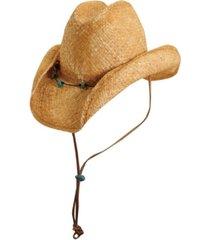 scala raffia western hat with turquoise trim