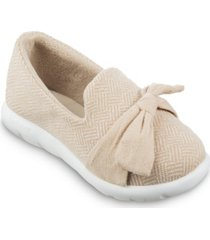 isotoner signature women's zenz hatch knit closed-back with tie slip-on