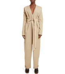 women's givenchy belted jumpsuit, size 10 us / 42 fr - brown