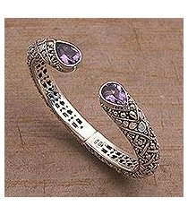 gold accent amethyst cuff bracelet, 'altar teardrops' (indonesia)