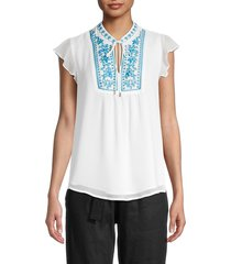 calvin klein women's embroidered crinkle blouse - white blue - size s
