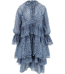 ermanno scervino designer dresses & jumpsuits, light blue animal print silk women's dress