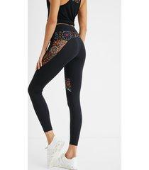 sport leggings printed blocks - black - xl