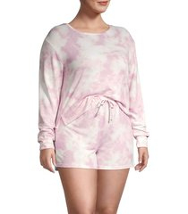 catherine malandrino women's plus tie-dye 2-piece top & shorts set - pink - size 3x (22-24)