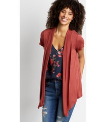maurices womens rust short sleeve open front cardigan red