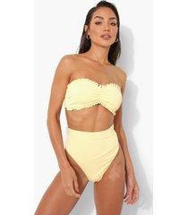 strapless bikini top met textuur en geplooide zoom, lemon