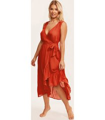 barcelona frill wrap midi dress