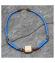 bone and ceramic beaded necklace, 'laafi' (ghana)