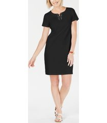 karen scott cotton lace-up split-neck dress, created for macy's