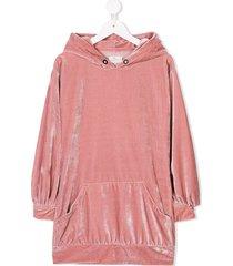 andorine velvet hooded dress - pink