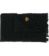 versace embroidered medusa fringed scarf - black