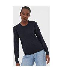 suéter lã banana republic tricot merino puff-sleeve azul-marinho