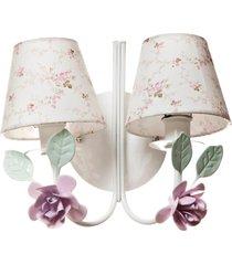 arandela 2 lã¢mpadas flores potinho de mel rosa - rosa - menina - dafiti
