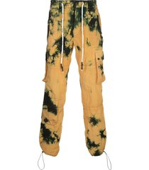 palm angels tie-dye cargo trousers - yellow