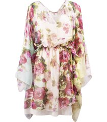 blumarine dress in rose-print silk chiffon