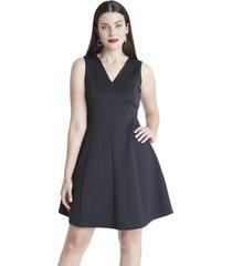 vestido aplicación escote negro lorenzo di pontti