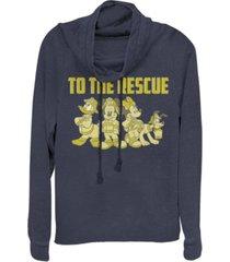 fifth sun juniors disney mickey classic thanks firefighters fleece cowl neck sweatshirt