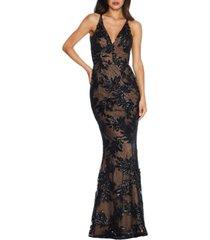women's dress the poppulation sharon embellished lace evening gown, size large regular - black