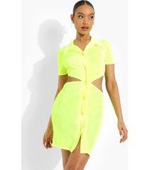 neon mini jurk met uitsnijding en kraag, neon-yellow