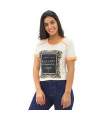 blusa t-shirt feminina estampada viscolycra manga curta