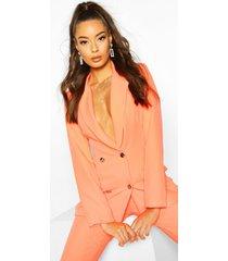 neon double breasted blazer, neon-orange