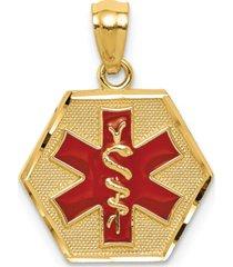 medical info hexagon charm pendant in 14k gold