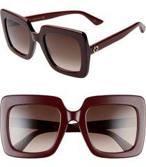 women's gucci 53mm square sunglasses - shiny solid burgundy