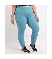 calça legging feminina plus size esportiva ace texturizada cintura alta azul claro