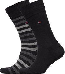 th men duo stripe sock 2p underwear socks regular socks svart tommy hilfiger