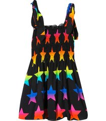 mc2 saint barth black flared dress with multicolor stars