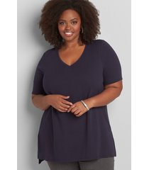 lane bryant women's perfect sleeve v-neck tunic top 26/28 night sky