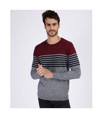 suéter masculino de tricô listrado manga longa cinza