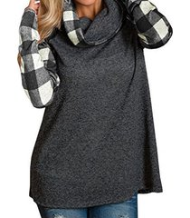 zanzea cuello alto camiseta de manga larga a cuadros-gris