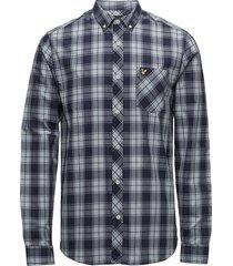 check shirt skjorta casual blå lyle & scott
